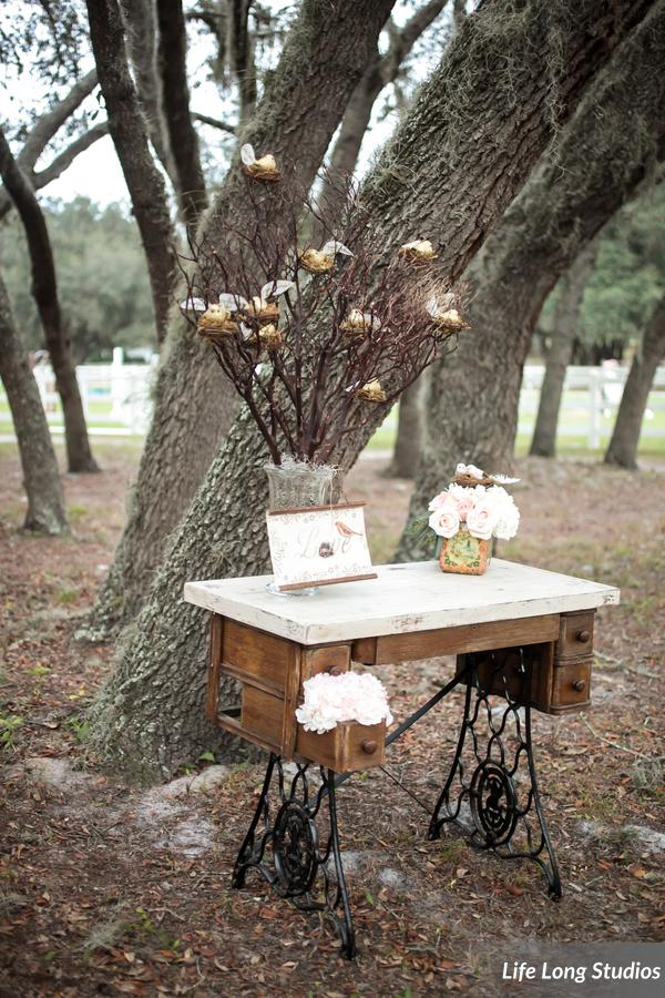 The bride's photography business captured the event, and were invited to join the couple for their reception meal. Gold birds perched in nests on manzanita branches were inscribed with names and table assignments.
