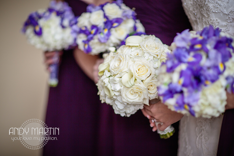The bride carried a bouquet of hydrangea, roses, & calla lilies. Bridesmaids carried hydrangea, iris, and sweet pea