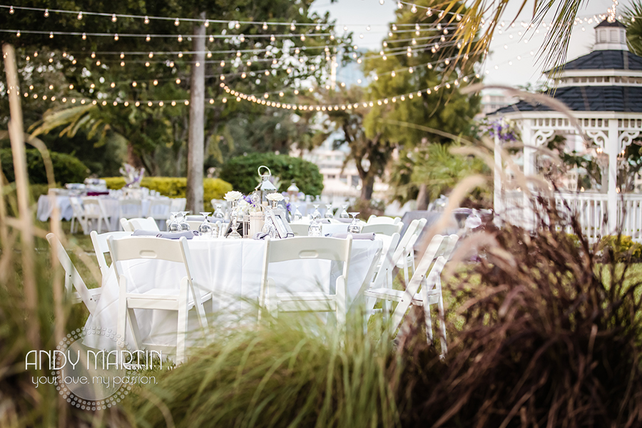 Guests dined under a canopy of lights suspended overhead