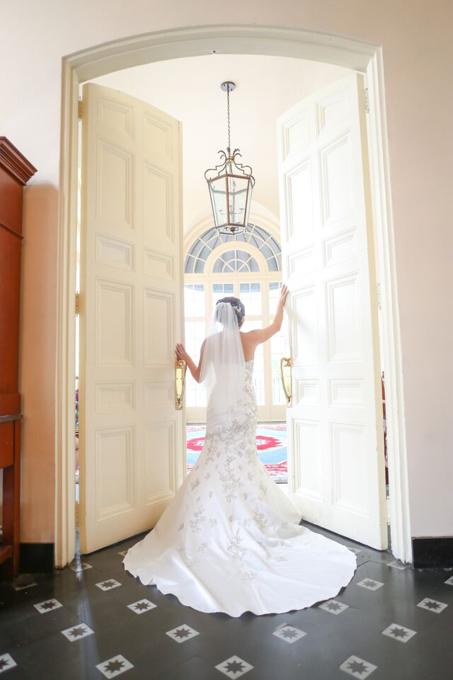 The bride posed for photos in the historic Terrace Hotel, downtown Lakeland