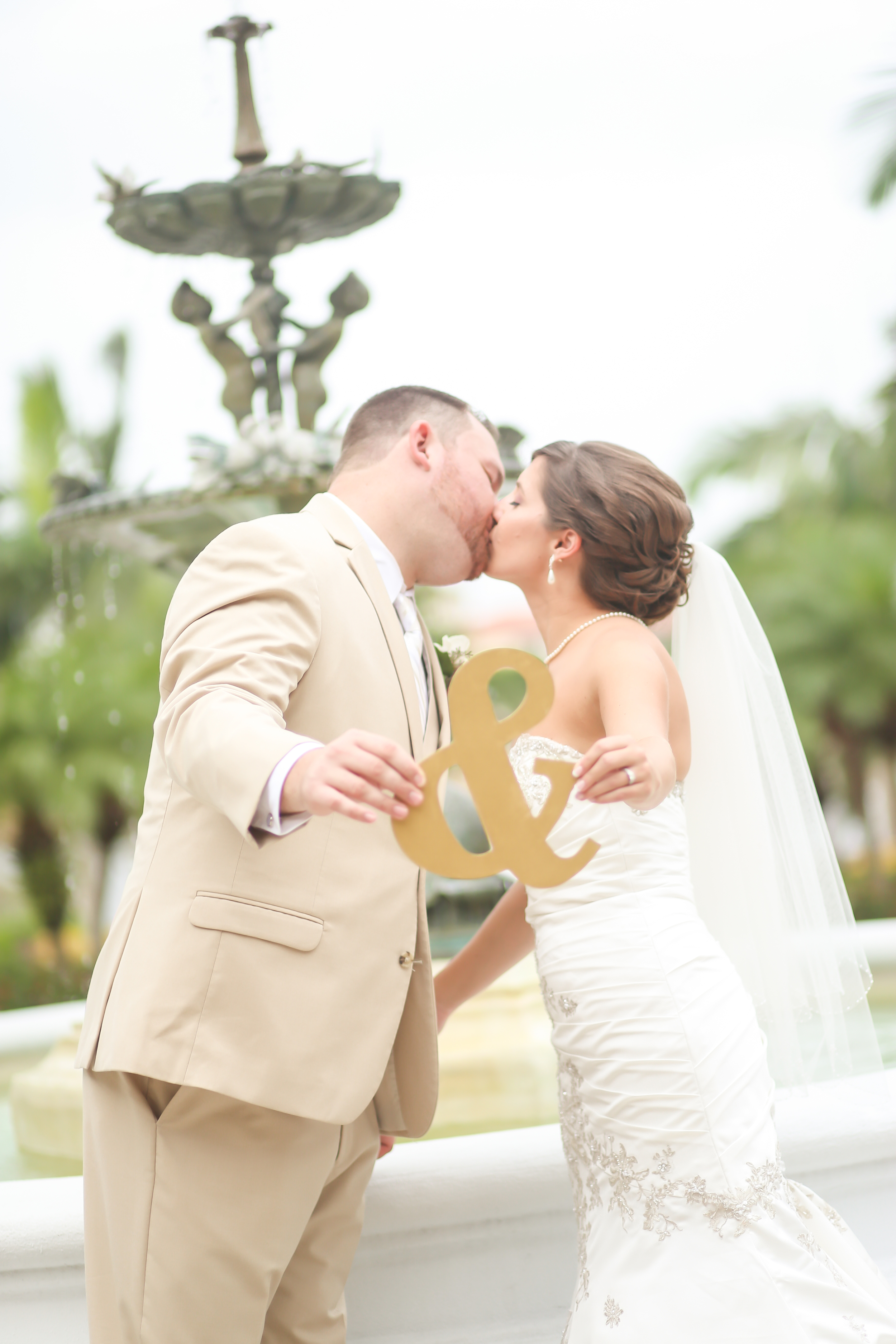 The couple shared a first look in the beautiful Hollis Gardens before the wedding