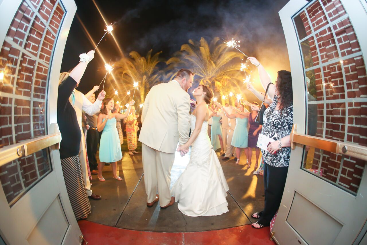 The bride and groom were sent off under an arch of sparklers