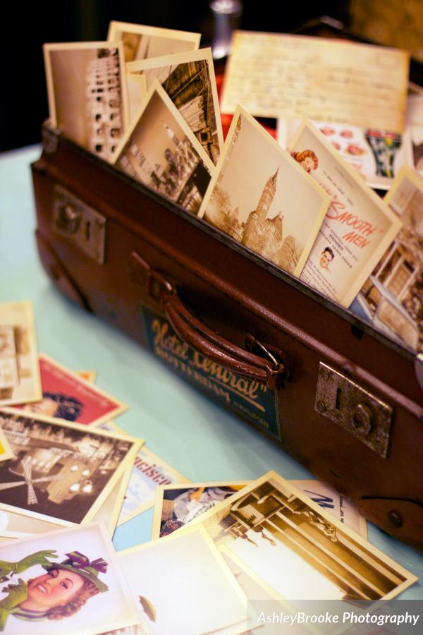 Guests signed vintage postcards in lieu of a guest book, which were mailed to the couple after the wedding