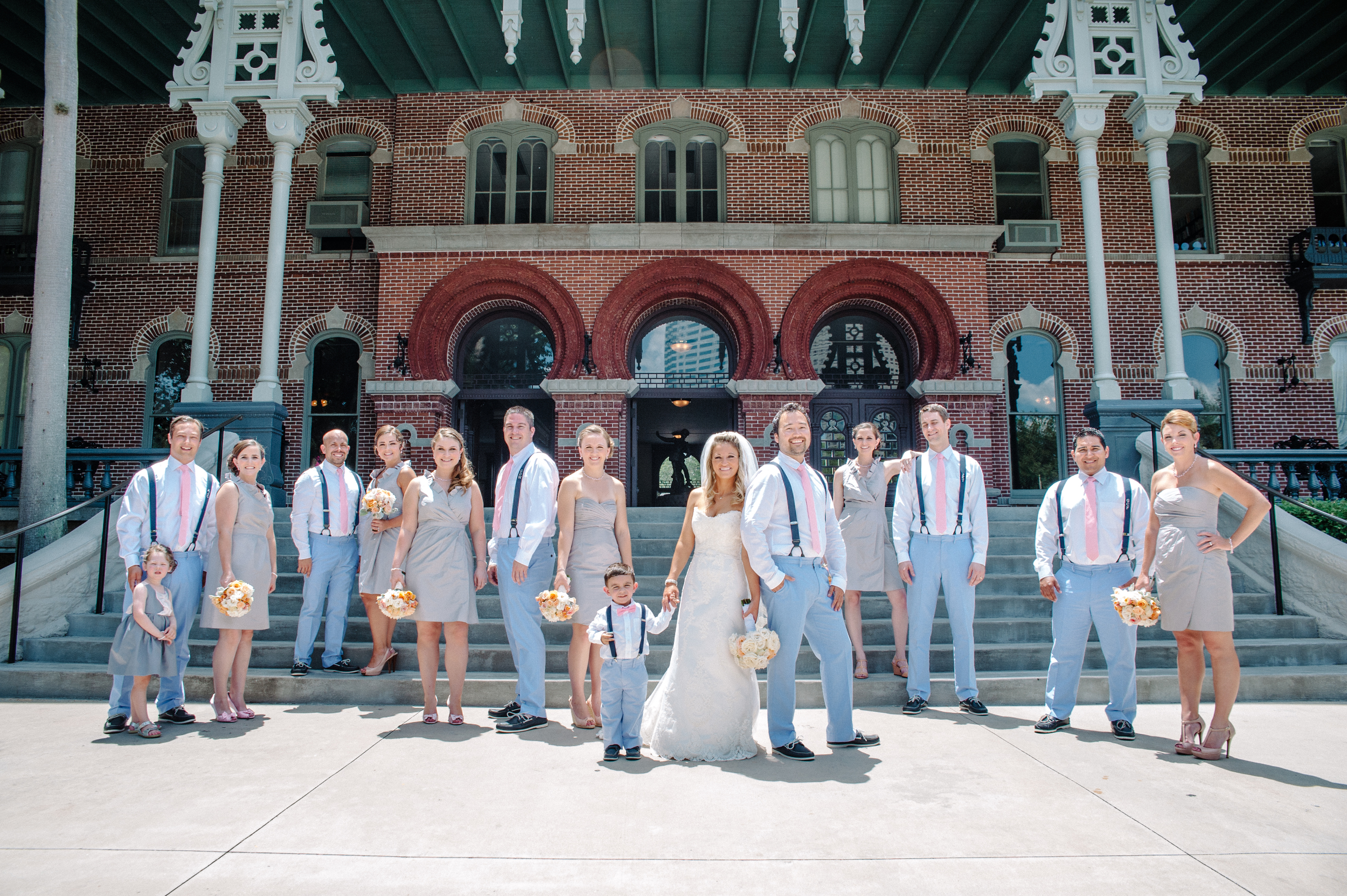 The bride and groom shared a First Look and wedding party photos at the historic Henry B Plant Museum