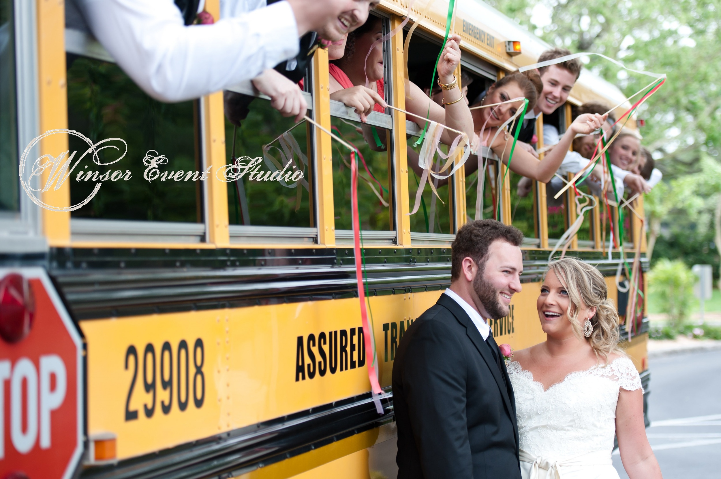 The wedding party commuted between the ceremony and reception via a chartered school bus