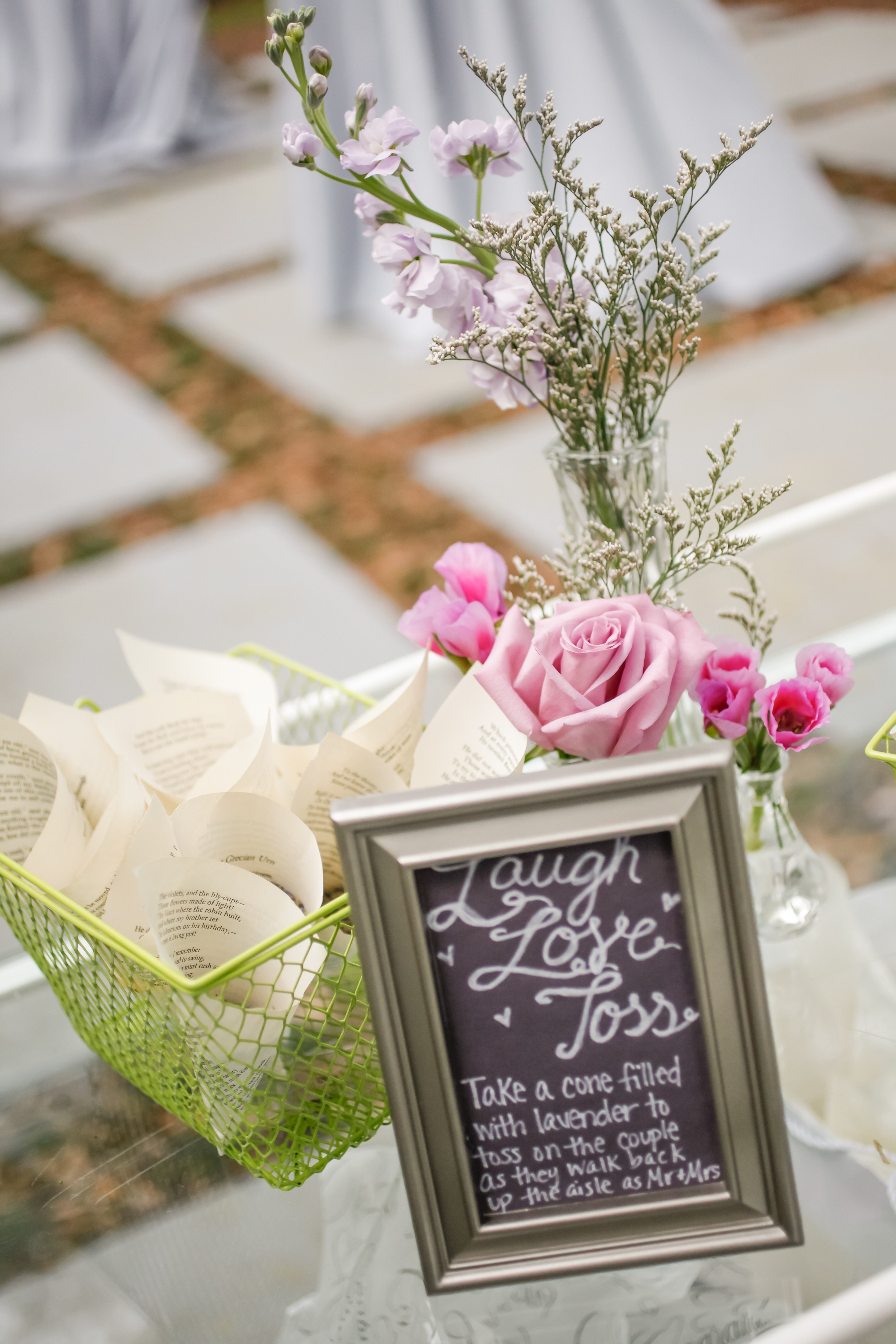 Pages of a vintage poem book made perfect cones for the lavender toss following the ceremony.
