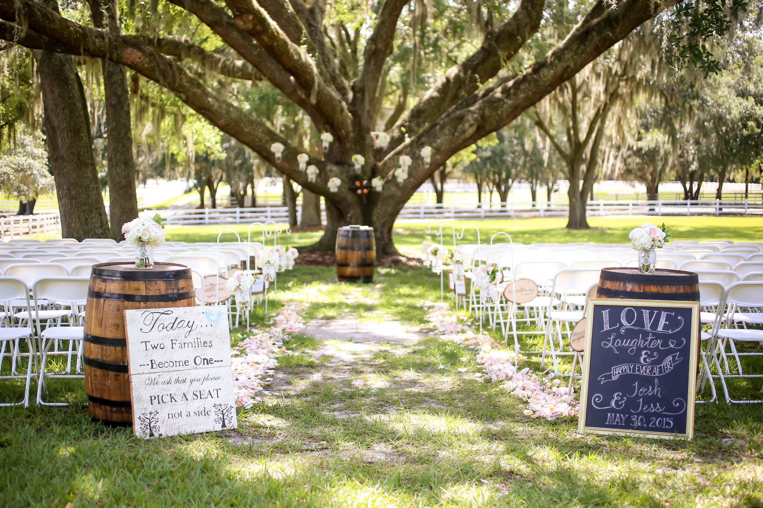 The ceremony took place under the towering branches of a mature Great Oak tree