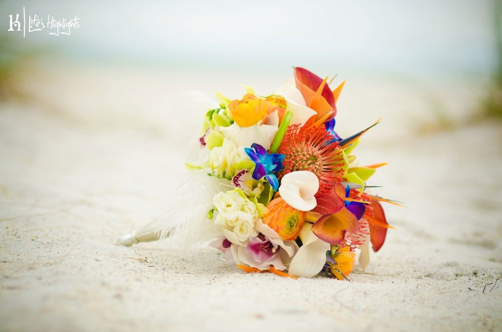 The bridal bouquet combined protea, orchids, calla lilies, birds of paradise, freesia, renunculus, &ostrich feathers