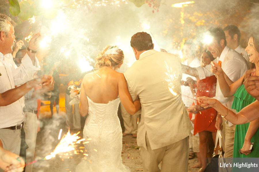 At the end of evening the couple exited through a path of sparklers
