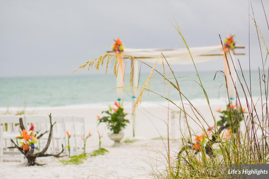 A bamboo arch accented with sheer draping created a stunning backdrop, and driftwood lined the aisle