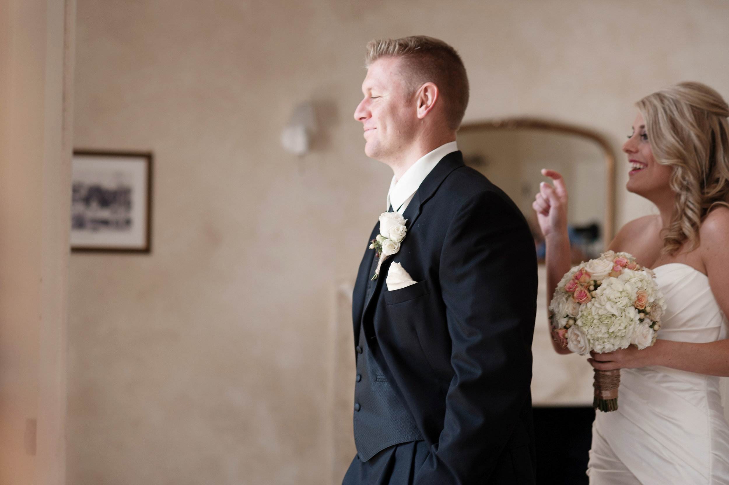 The bride and groom shared an intimate first look before the ceremony