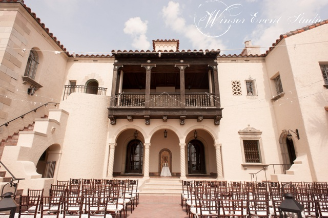 Mahogany chiavari chairs and canopy lighting made for a gorgeous ceremony-turned-dancefloor space