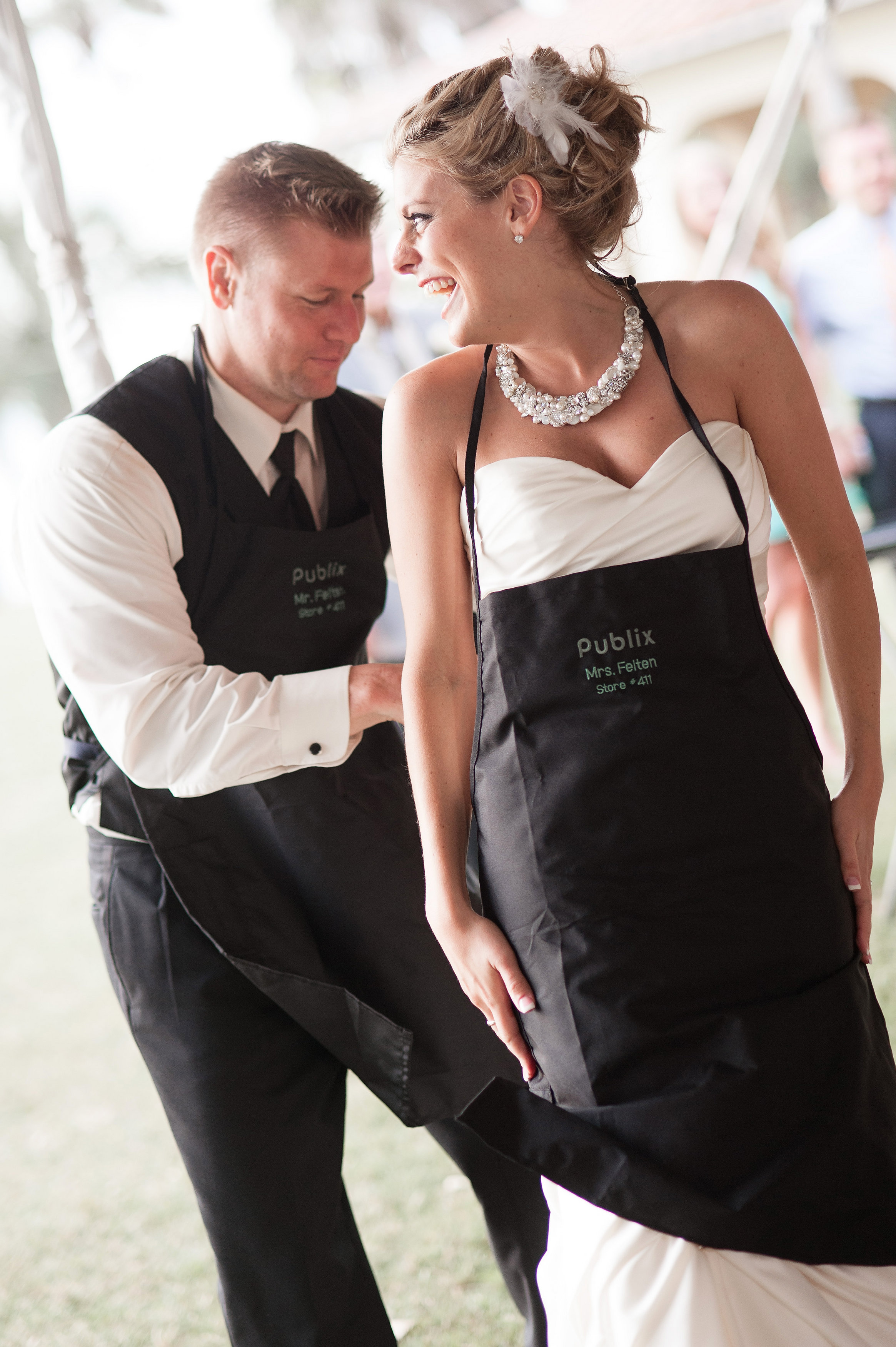 Having met while working at Publix, the couple was surprised with custom Publix aprons