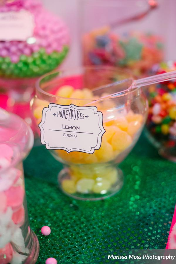 The Harry Potter themed candy buffet offered treats like Berts Beans and Chocolate Frogs