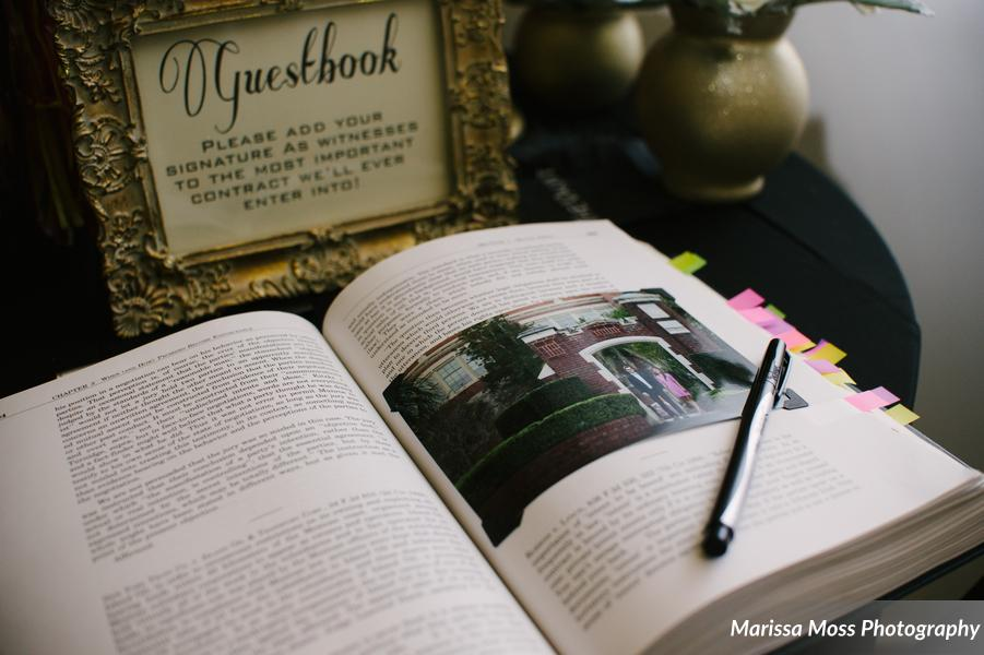 In honor of the bride and groom's careers, guests signed a law text book as a guestbook