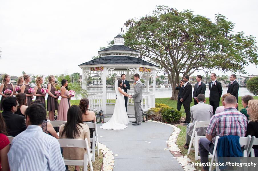 The ceremony was poised at the waterfront gazebo of the Davis Islands Garden Club