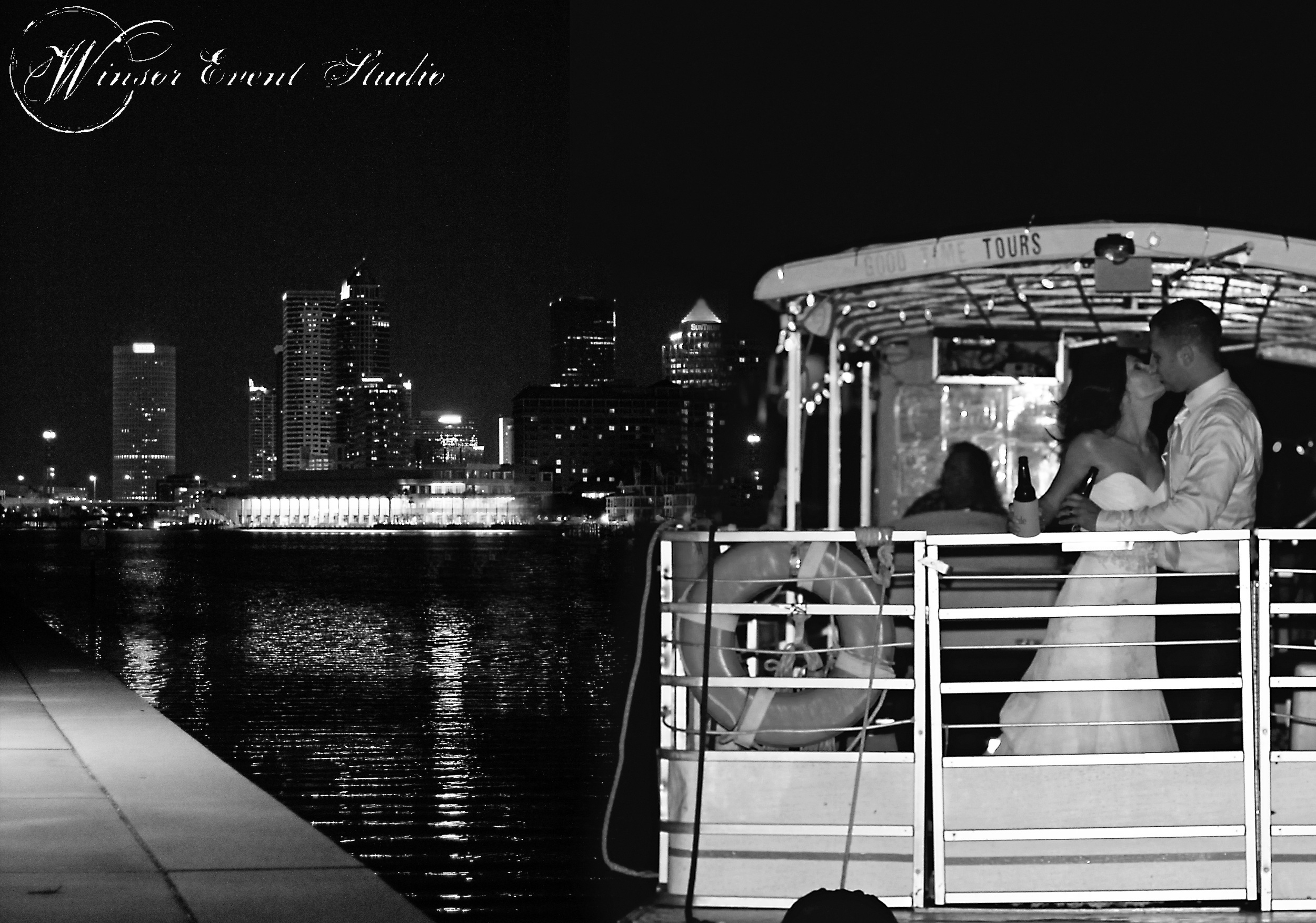 A water taxi whisked away the bride and groom at the end of the evening