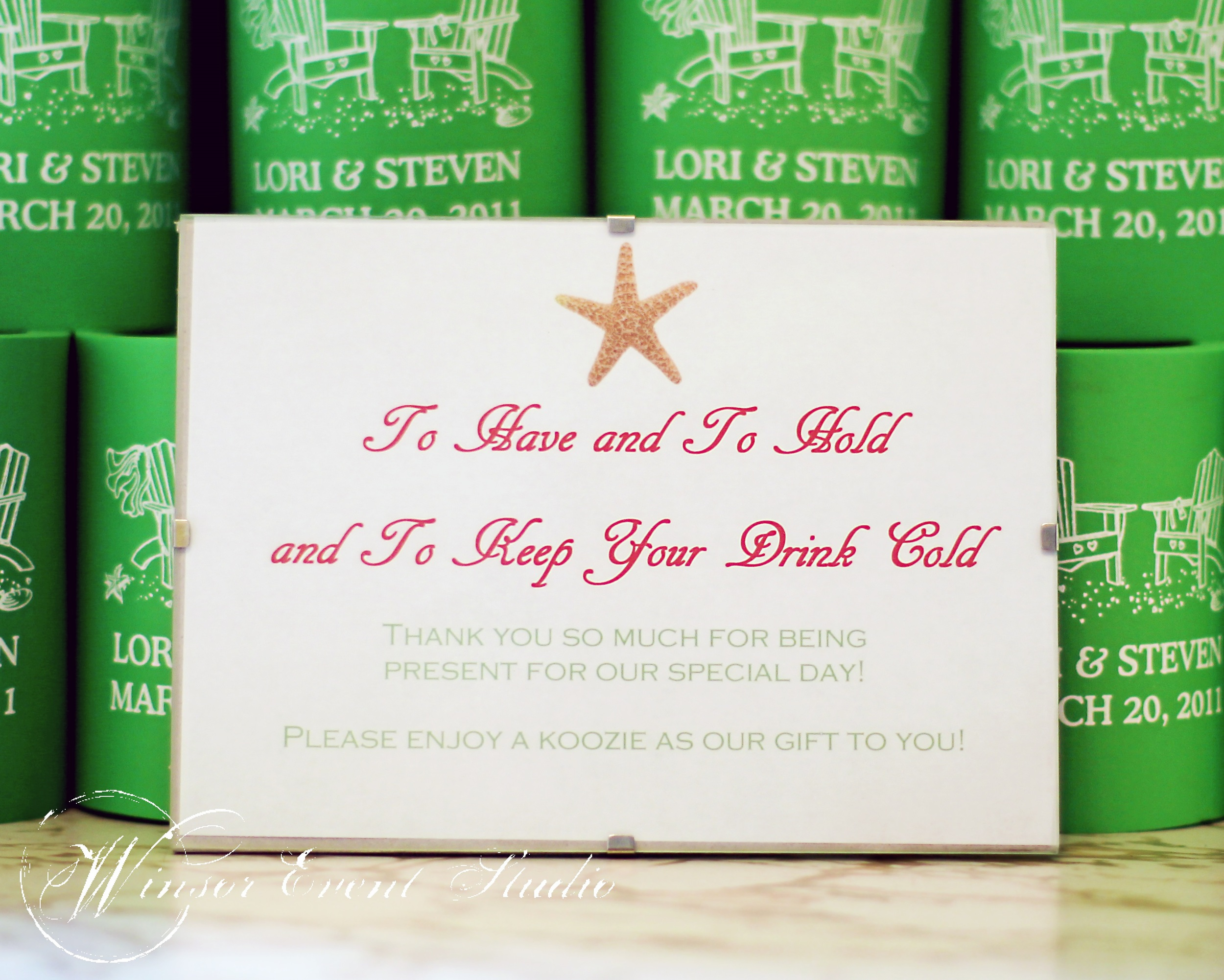 Guests received custom koozies as favors