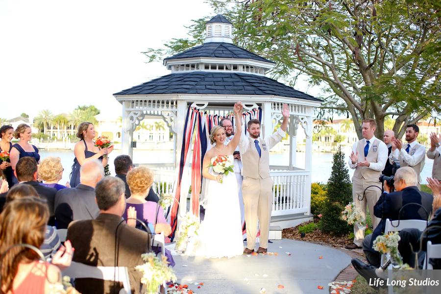 The bride created a ribbon curtain as a ceremony backdrop for the gazebo