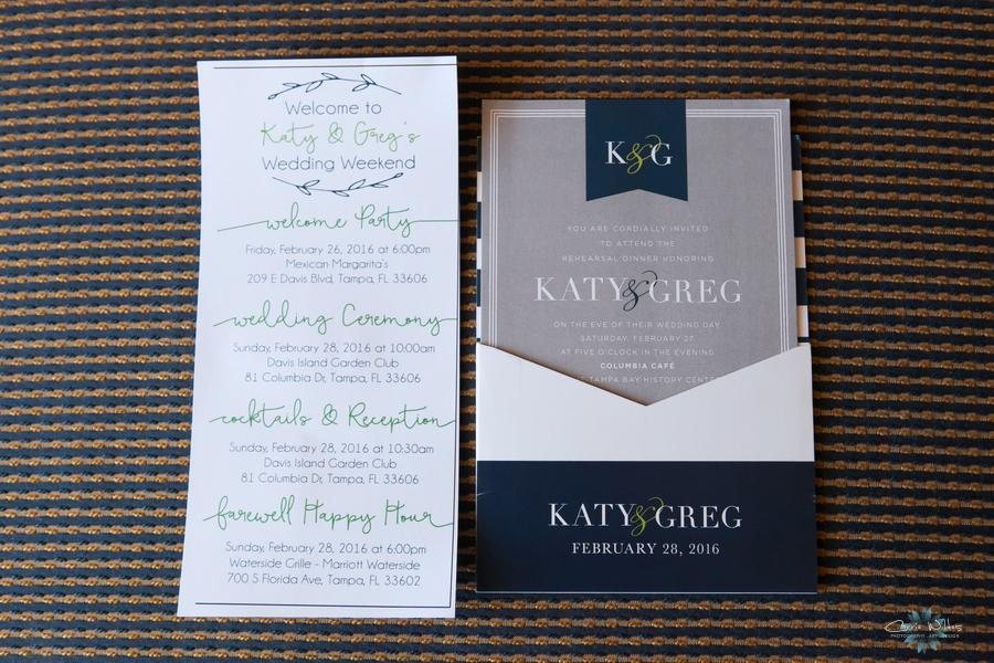 The couple's pocket-style invitation featured preppy navy, grey, and white with pops of bright green