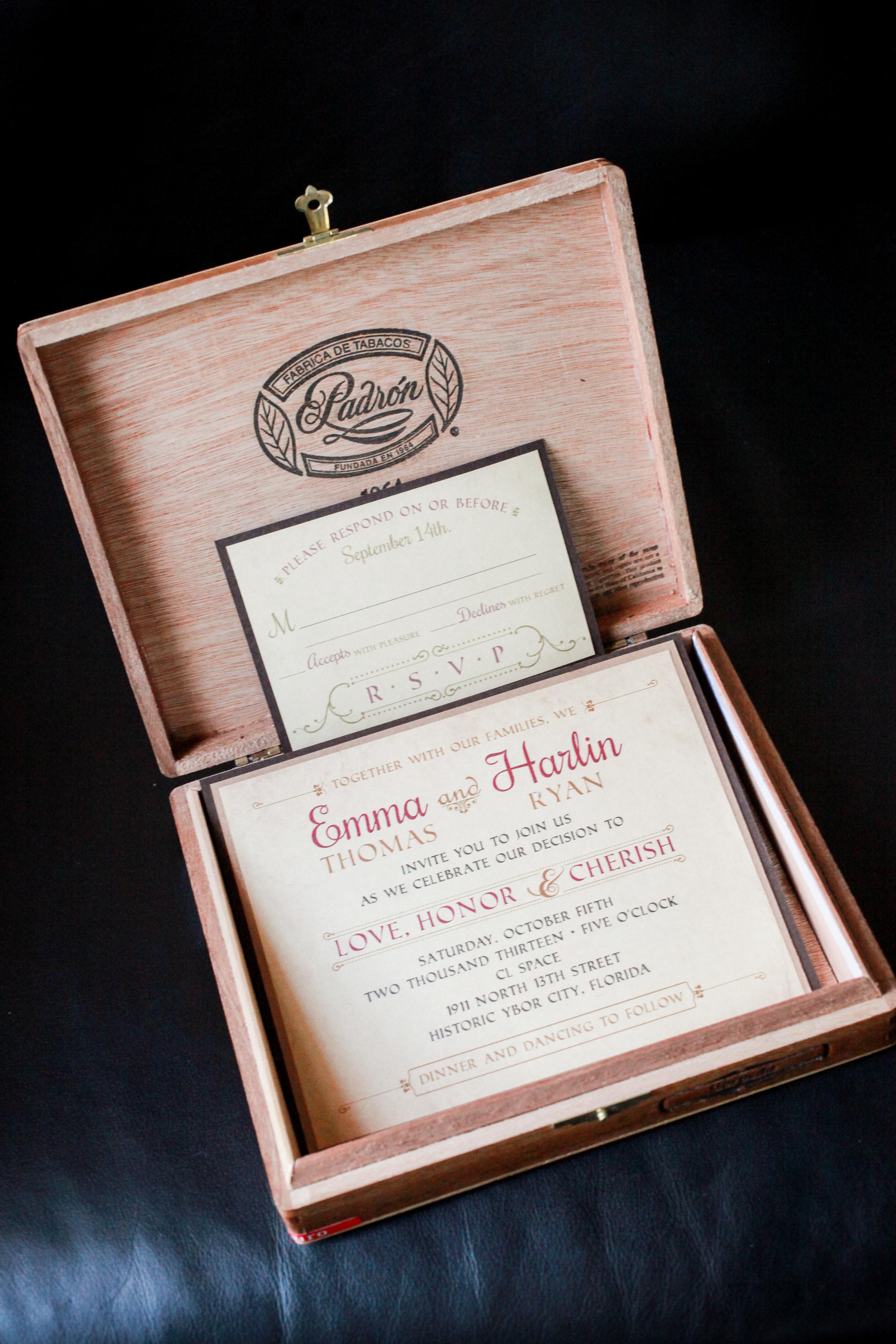 winsor event studio cigar box invitation