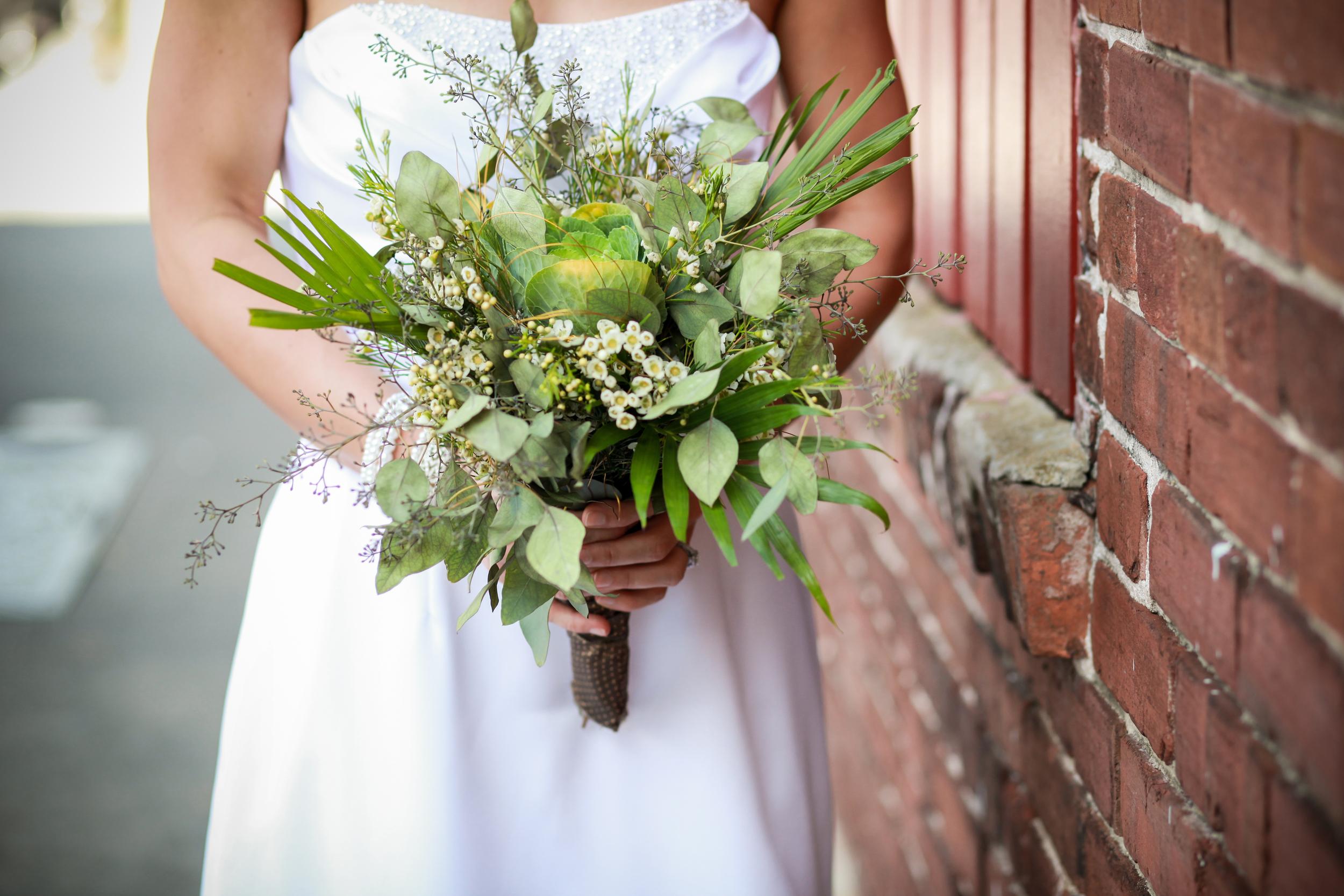 winsor event studio natural bouquet cabbage kale fern palm