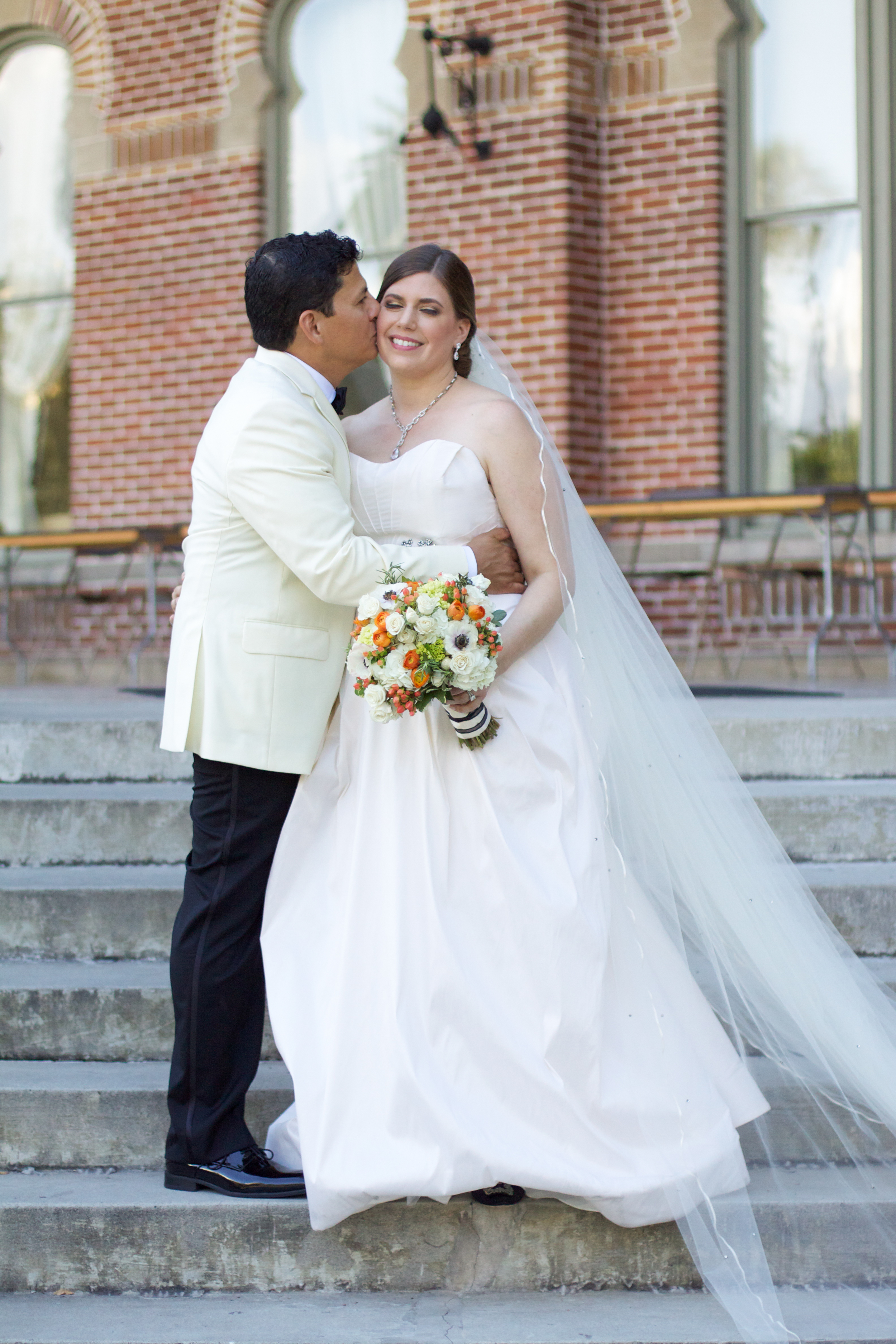 The couple had an intimate First Look on the steps of the historic Henry B Plant Museum