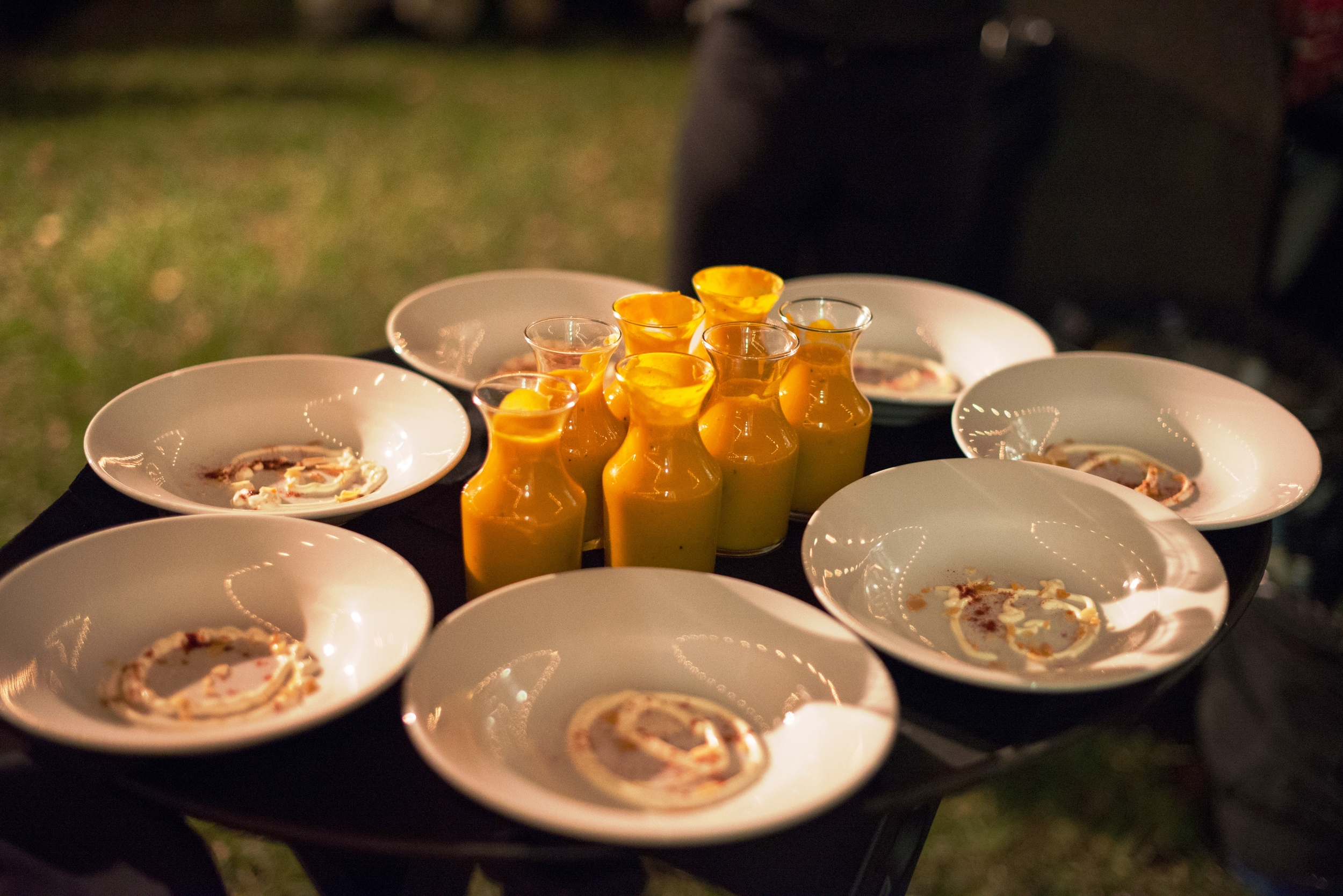 Carafes of autumnal butternut squash soup were poured over creme fraiche and served tableside