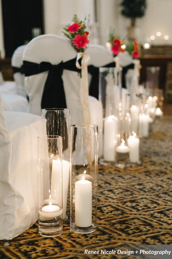 winsor event studio candles aisle ceremony