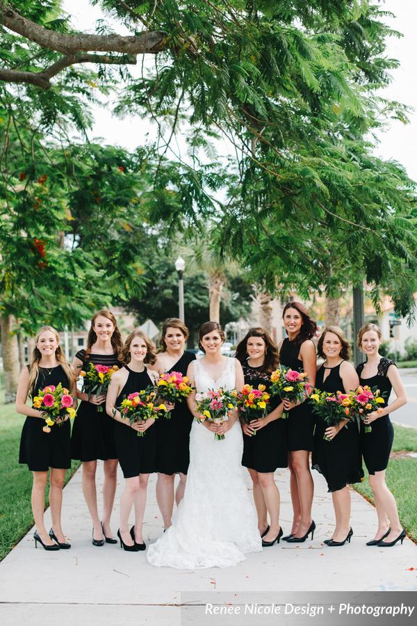 winsor event studio black bridesmaid dresses colorful bouquets