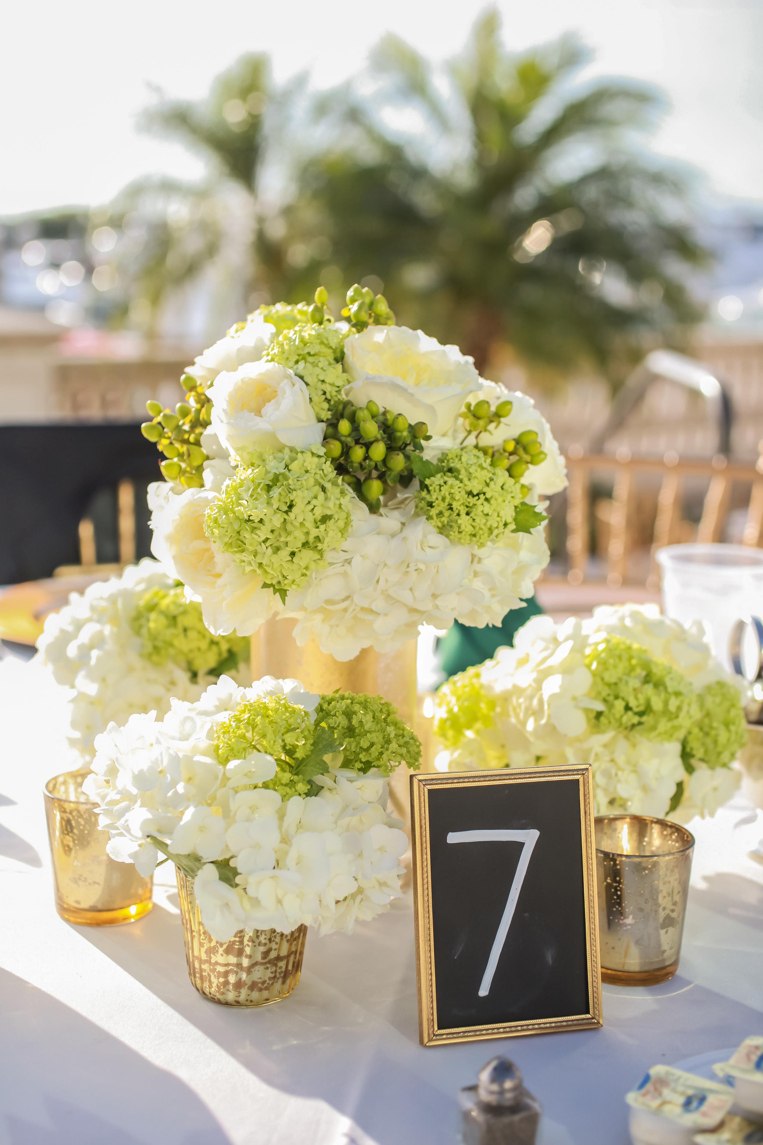 winsor event studio emerald green gold wedding centerpiece