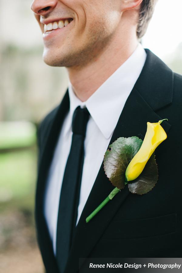 winsor event studio yellow calla lily boutonniere