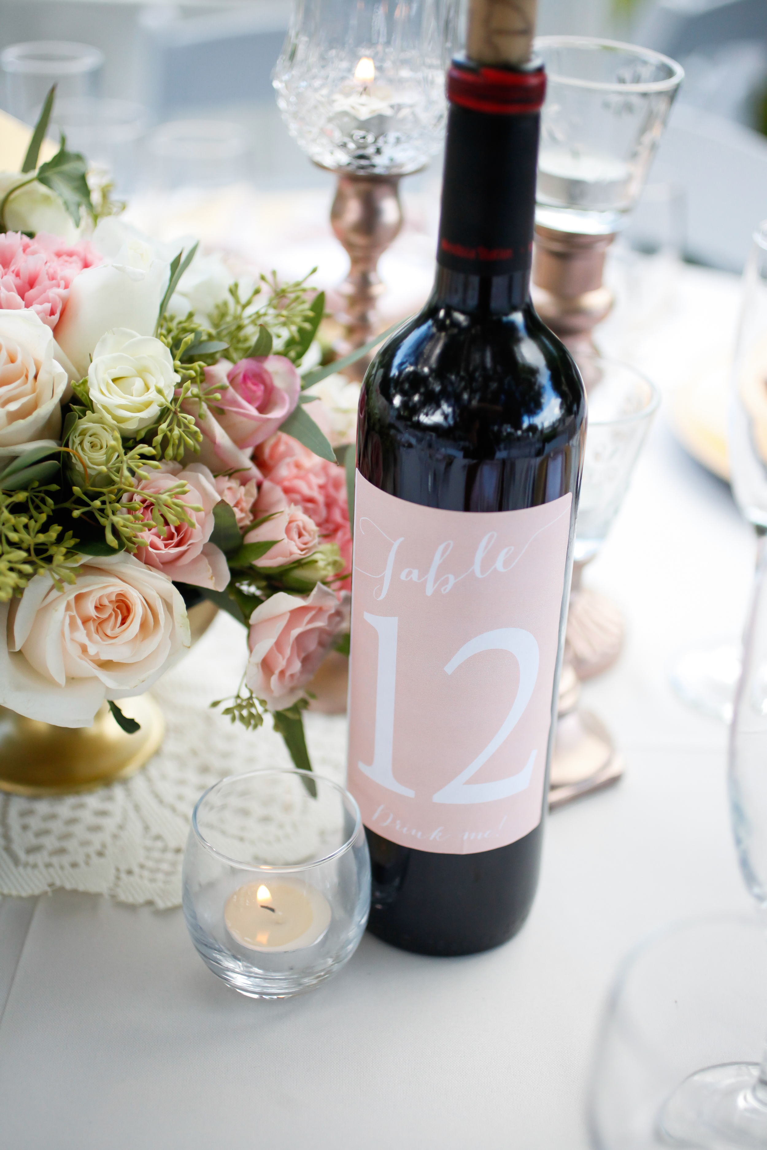 winsor event studio wine bottle table number wedding