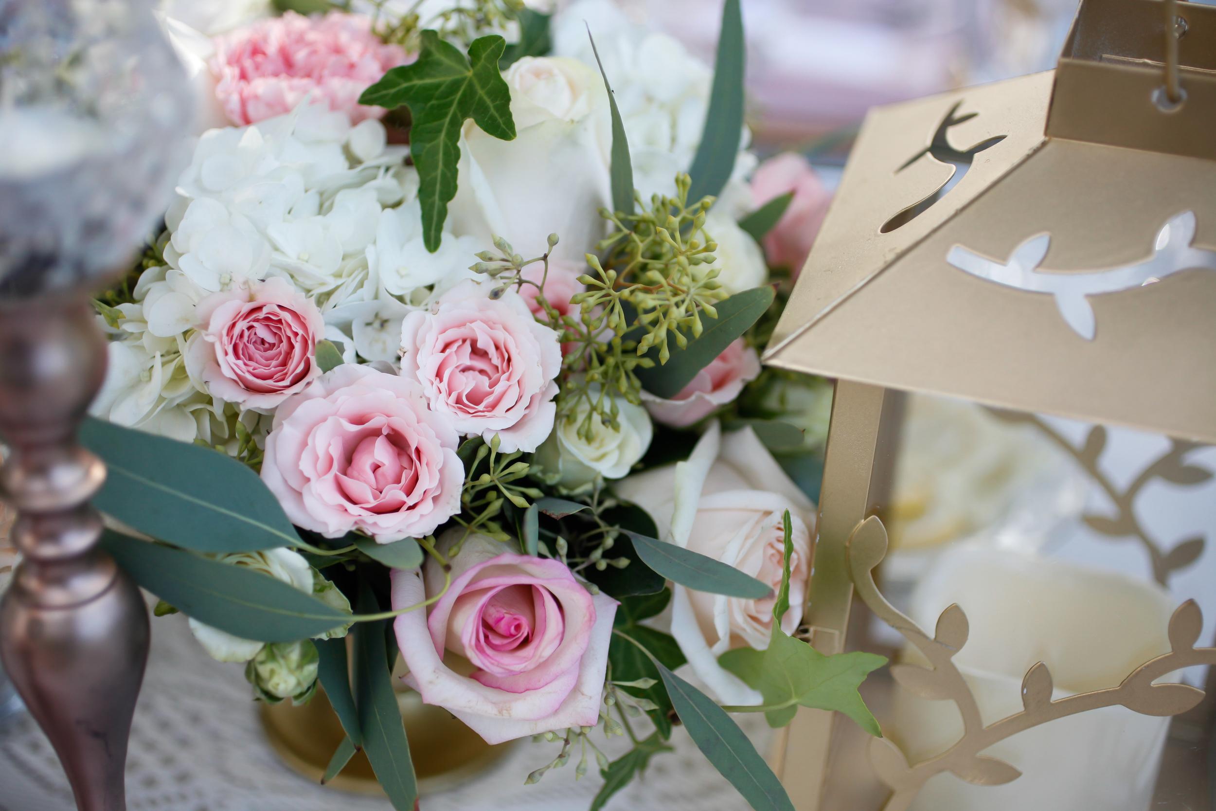 winsor event studio garden wedding centerpiece lantern rose gold