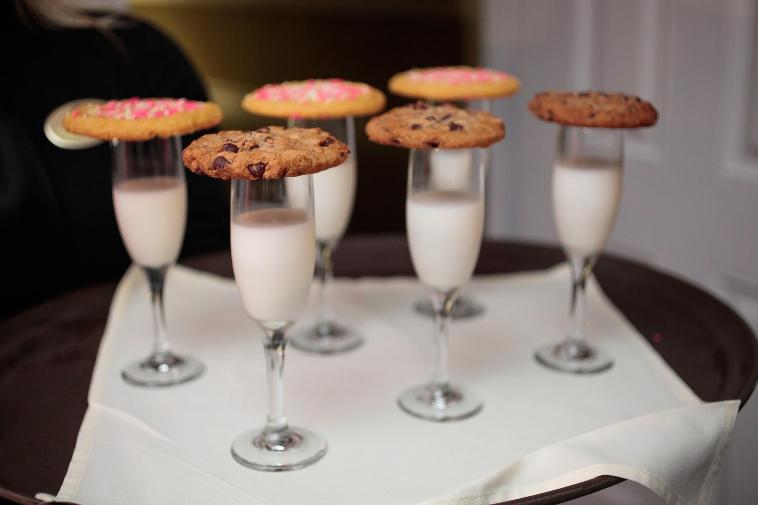 winsor event studio cookies milk passed late night snack wedding
