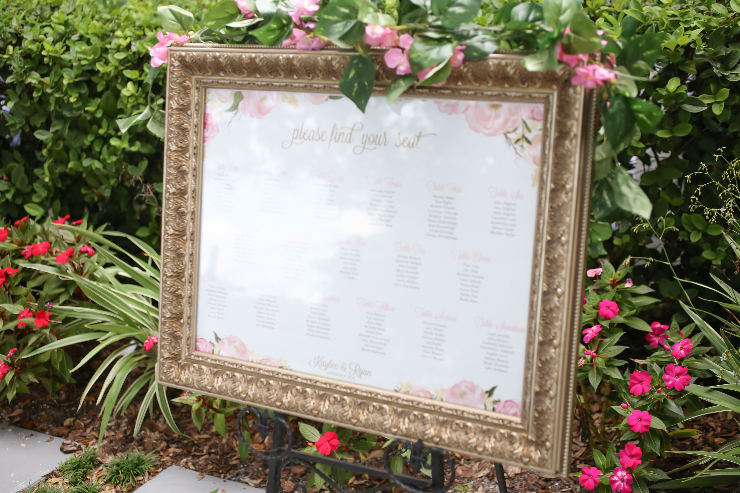 winsor event studio seating chart wedding gold frame