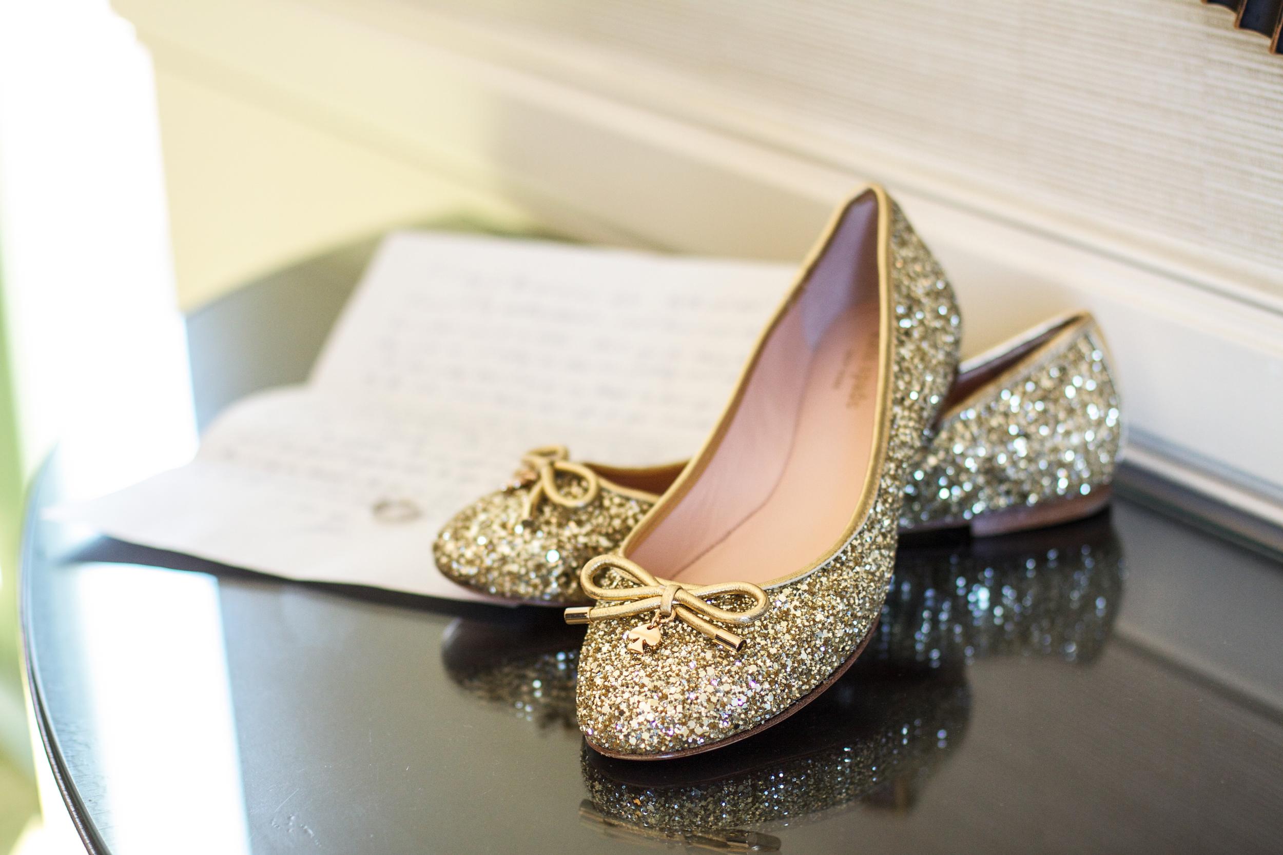 winsor event studio gold ballet flats shoes bride wedding