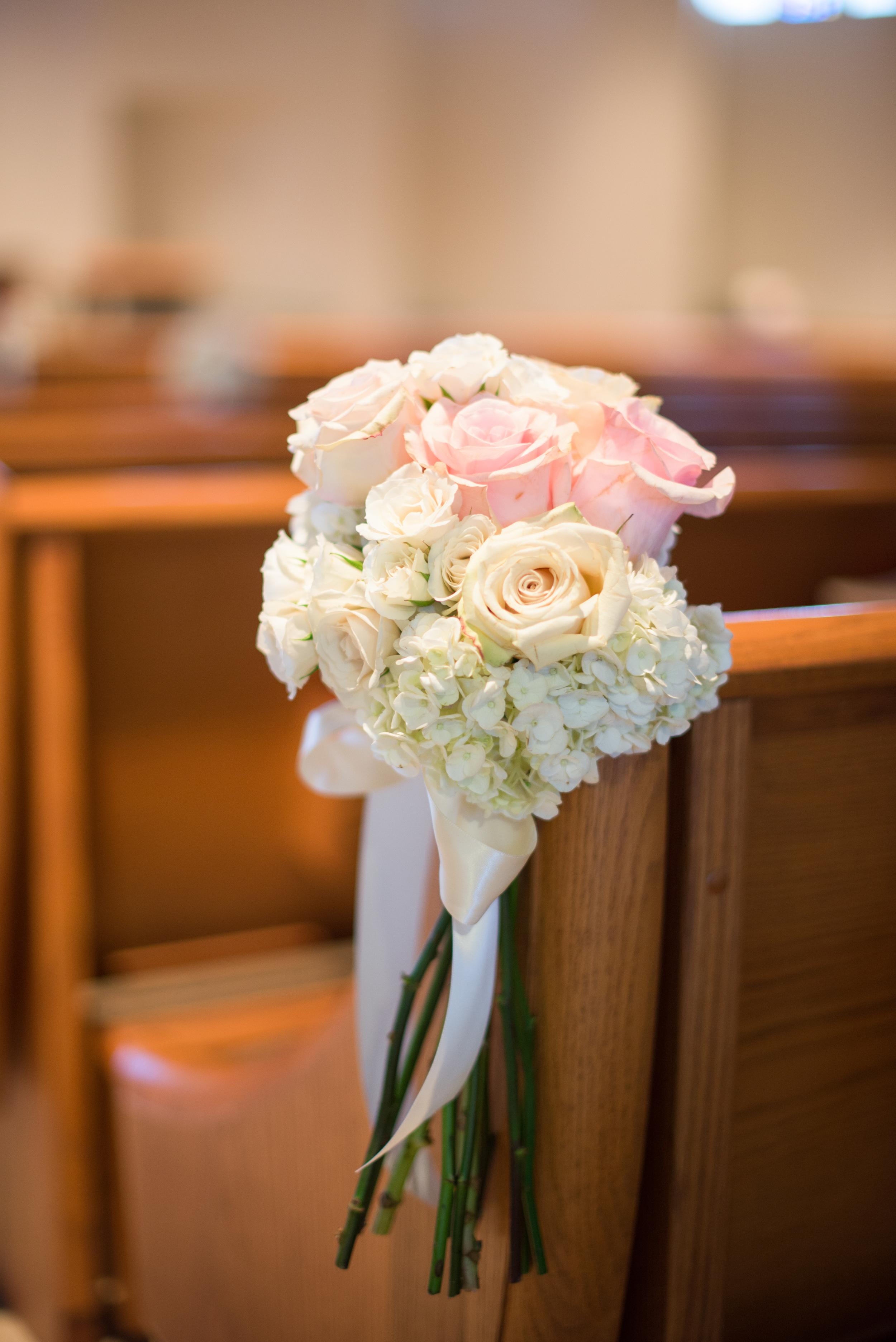 winsor event studio wedding pew flowers aisle ceremony church