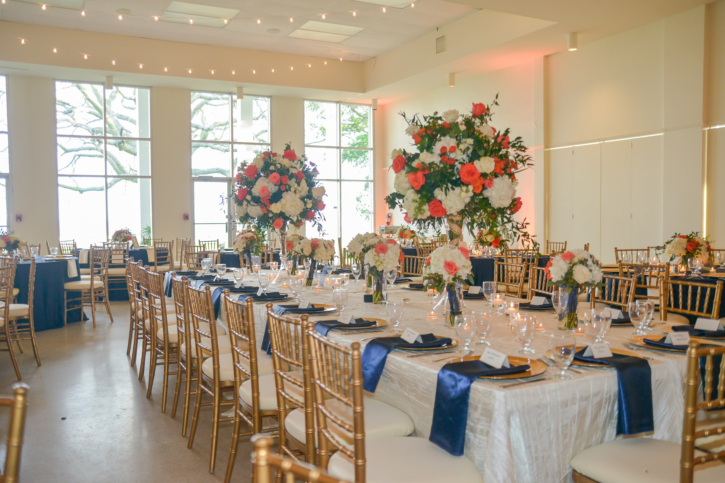 winsor event studio tampa garden club wedding navy coral peach