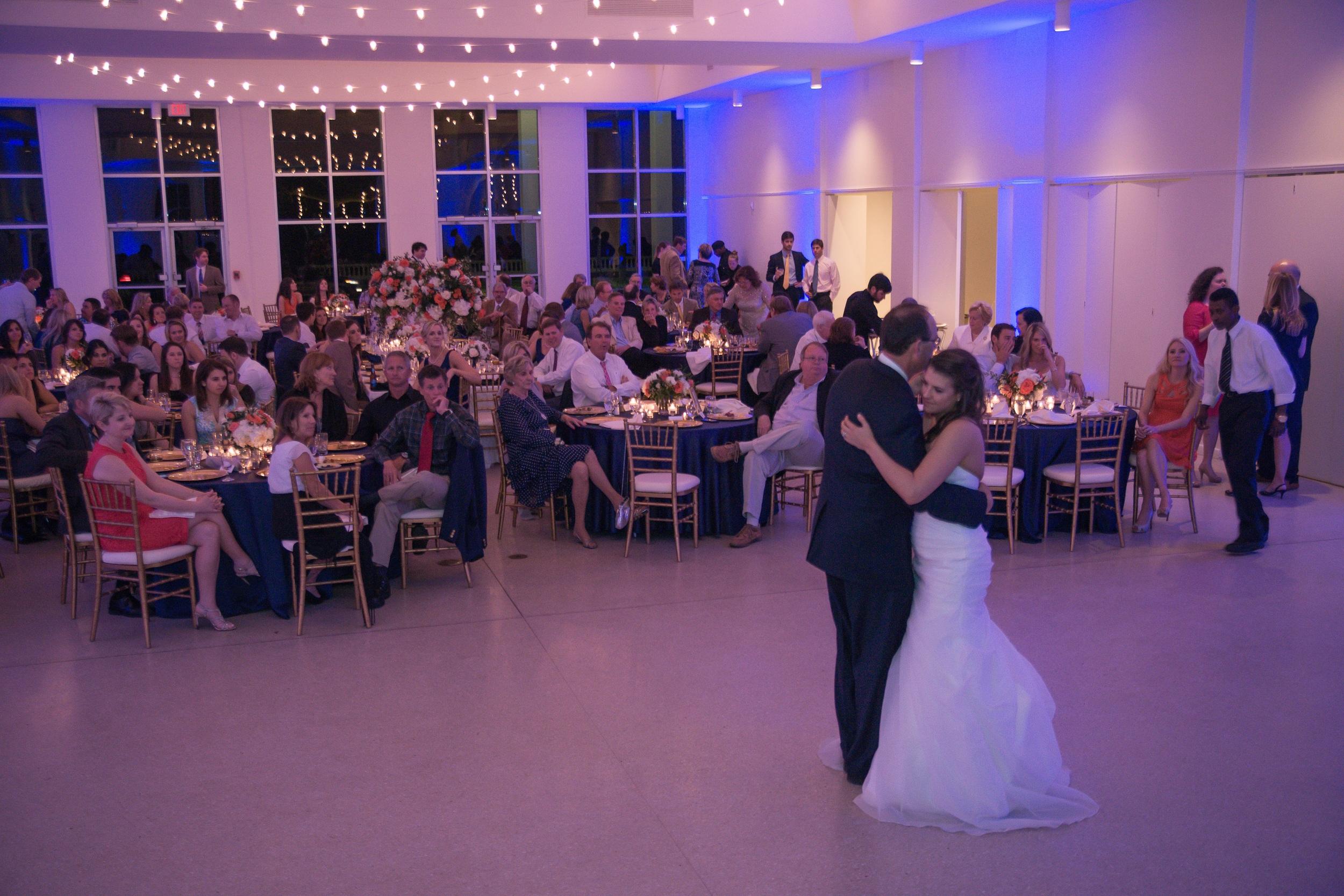 winsor event studio tampa garden club wedding reception uplight blue