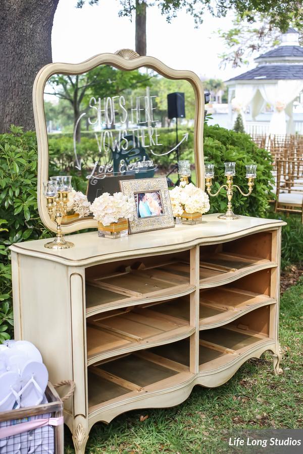 winsor event studio shoe valet wedding vintage furniture dresser flip flops