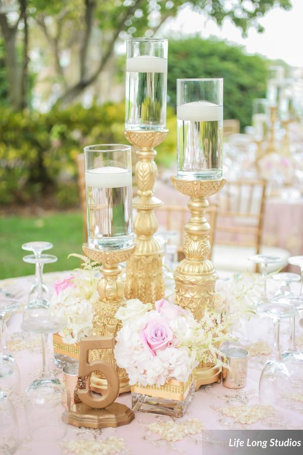 winsor event studio gold blush wedding centerpiece floating candle