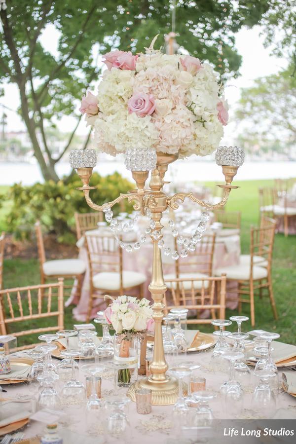 winsor event studio gold blush wedding candelabra centerpiece