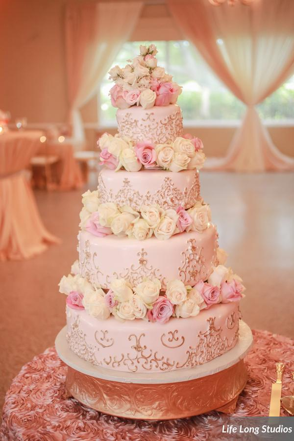 winsor event studio blush gold wedding cake fresh flowers piping roses