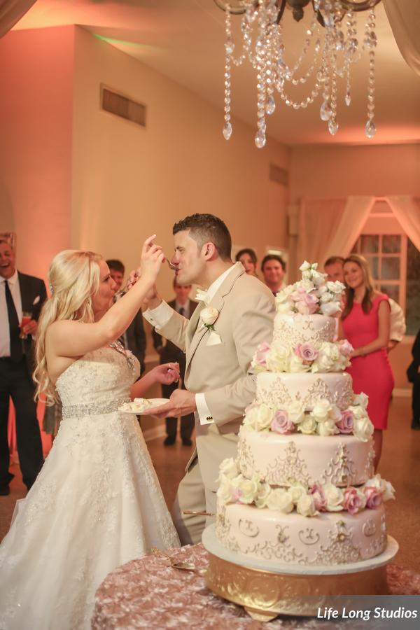 winsor event studio blush gold wedding cake chandelier