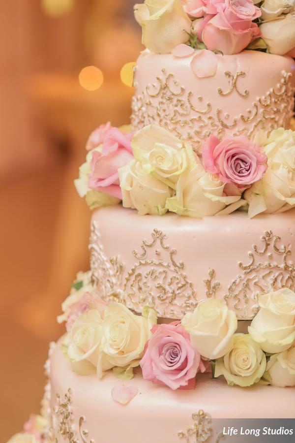winsor event studio wedding cake gold piping blush icing roses