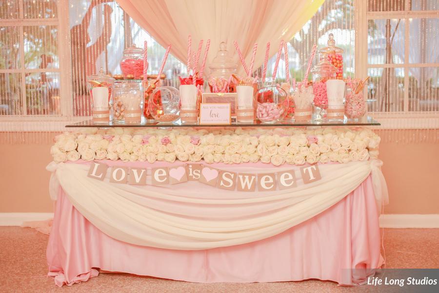 winsor event studio candy buffet bar wedding blush pink
