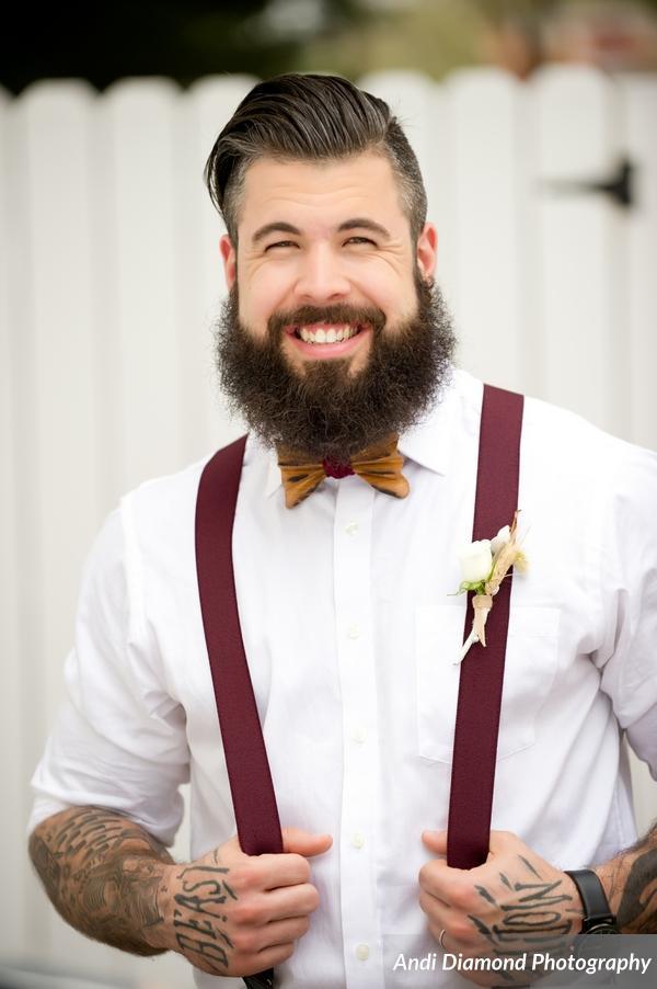 winsor event studio wood bow tie wheat boutonniere suspenders groom