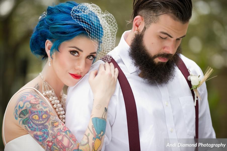 winsor event studio tattoo bride blue hair wedding alternative hipster