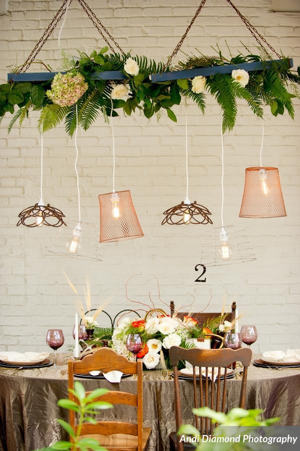 winsor event studio industrial chic wedding edison bulb lighting installment suspended
